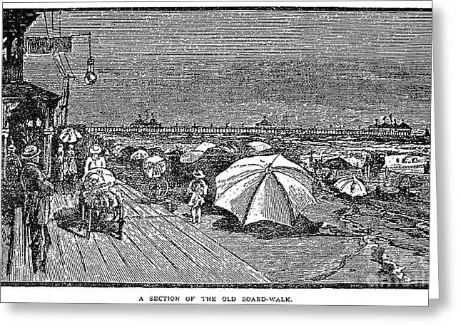 Sunbathing Greeting Cards - New Jersey: Boardwalk Greeting Card by Granger