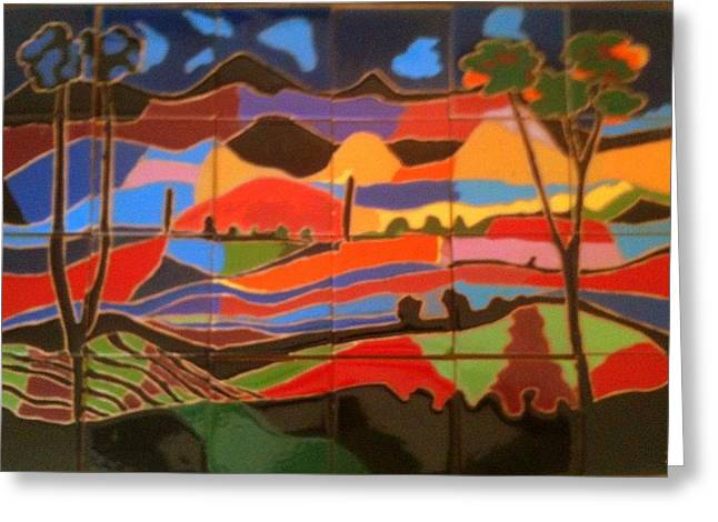 Hills Ceramics Greeting Cards - New Mexico Landscape Greeting Card by Yana Yatsyk