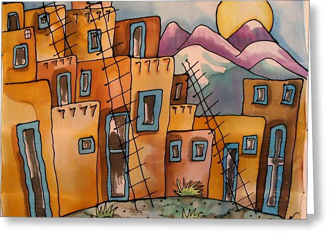 Adobe Tapestries - Textiles Greeting Cards - New Mexico memories Greeting Card by Yvonne Feavearyear
