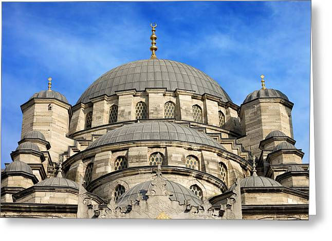 Byzantine Greeting Cards - New Mosque Domes in Istanbul Greeting Card by Artur Bogacki