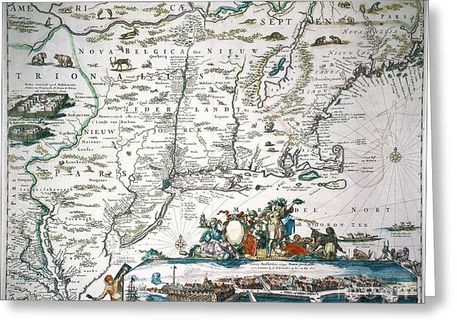 Allard Greeting Cards - New Netherland Map Greeting Card by Granger