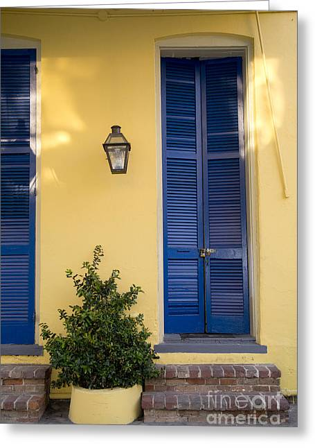 Leslie Leda Greeting Cards - New Orleans Doors Greeting Card by Leslie Leda