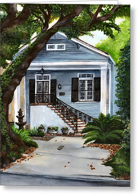 Historic Home Paintings Greeting Cards - New Orleans Home Greeting Card by Elaine Hodges