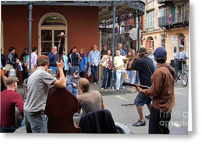 Stand Up Bass Greeting Cards - New Orleans Jazz Band Greeting Card by John  Kolenberg