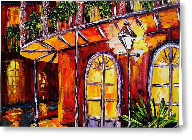 Courtyard Greeting Cards - New Orleans Original Oil Painting French Quarter Glow Greeting Card by Beata Sasik