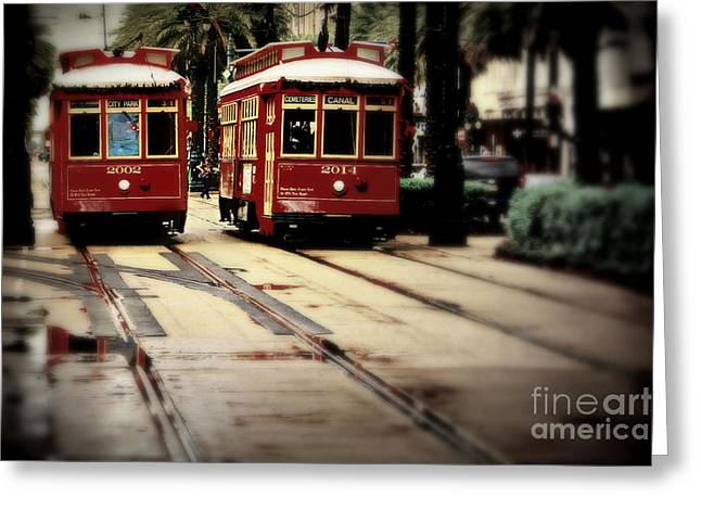 Historical Pictures Greeting Cards - New Orleans Red Streetcars Greeting Card by Perry Webster