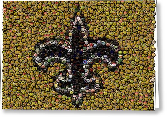 Bottlecap Greeting Cards - New Orleans Saints  Bottle Cap Mosaic Greeting Card by Paul Van Scott