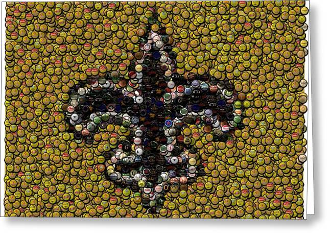 New Orleans Saints  Bottle Cap Mosaic Greeting Card by Paul Van Scott