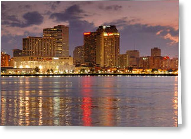 New Greeting Cards - New Orleans Skyline at DUSK Greeting Card by Jon Holiday