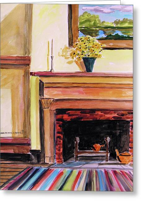 Interior Still Life Drawings Greeting Cards - New Painting Over the Mantel Greeting Card by John  Williams