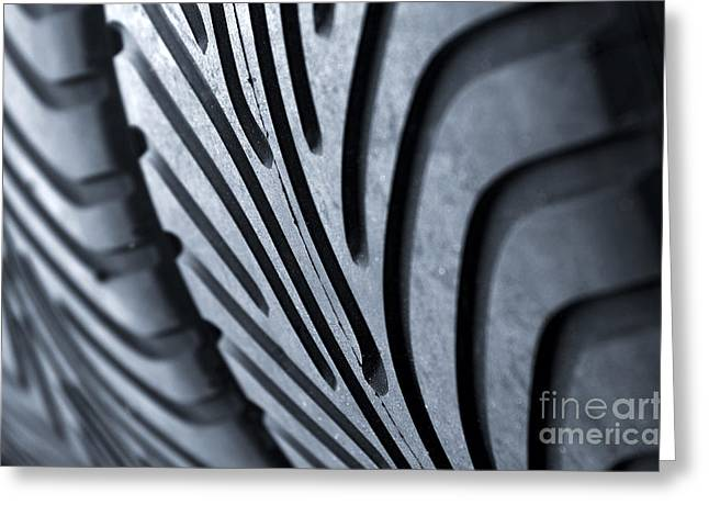 Tyre Greeting Cards - New racing tires Greeting Card by Carlos Caetano