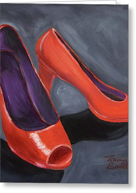 Open Toe Shoes Greeting Cards - New Red Shoes Greeting Card by Tracey Bautista