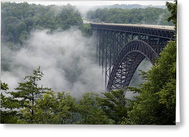 Foggy Day Greeting Cards - New River Gorge Bridge on a Foggy Day in West Virginia Greeting Card by Brendan Reals