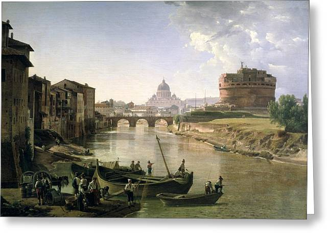 River Reflections Greeting Cards - New Rome with the Castel Sant Angelo Greeting Card by Silvestr Fedosievich Shchedrin