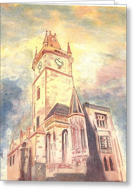 Prague Paintings Greeting Cards - New Town Hall Greeting Card by Rene Ury