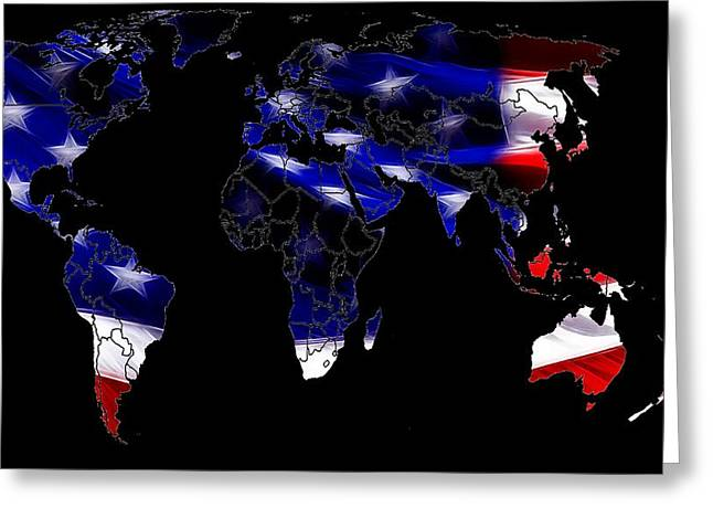World Digital Map Greeting Cards - New World Map Greeting Card by Stefan Kuhn