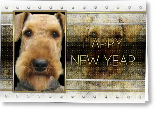 Canine Greeting Cards - New Year - Golden Elegance Airedale Greeting Card by Renae Laughner