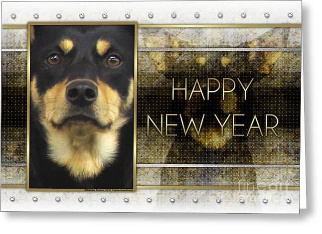 Australian Kelpie Greeting Cards - New Year - Golden Elegance Australian Kelpie Greeting Card by Renae Laughner
