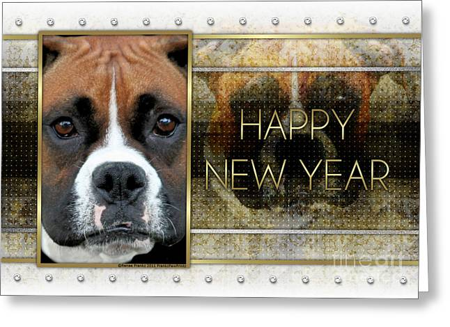 Boxer Greeting Cards - New Year - Golden Elegance Boxer Greeting Card by Renae Laughner