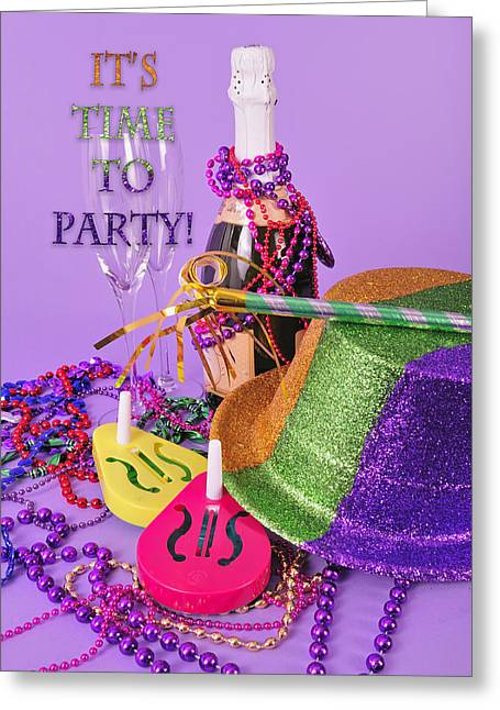 Party Invite Greeting Cards - New Years Eve Party Invite Greeting Card by Marianne Campolongo
