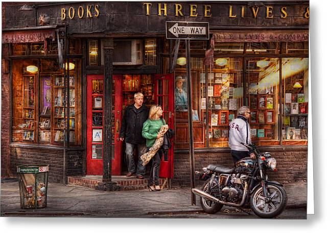 Bookstore Greeting Cards - New York - Store - Greenwich Village - Three Lives Books  Greeting Card by Mike Savad
