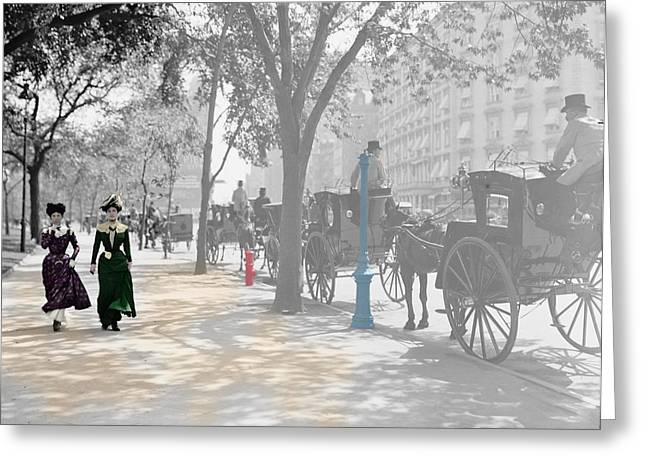 Hansom Greeting Cards - New York 1900 Greeting Card by Andrew Fare