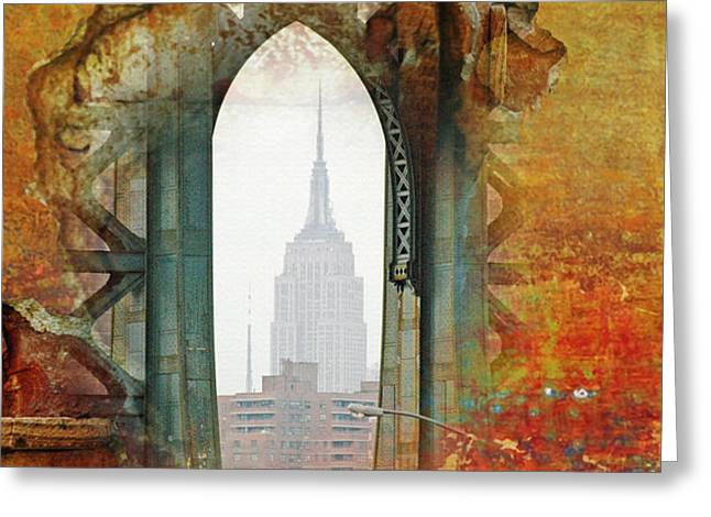 New York Abstract Print Greeting Card by AdSpice Studios