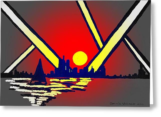 Sun Rays Paintings Greeting Cards - New York At Night Greeting Card by Connie Valasco