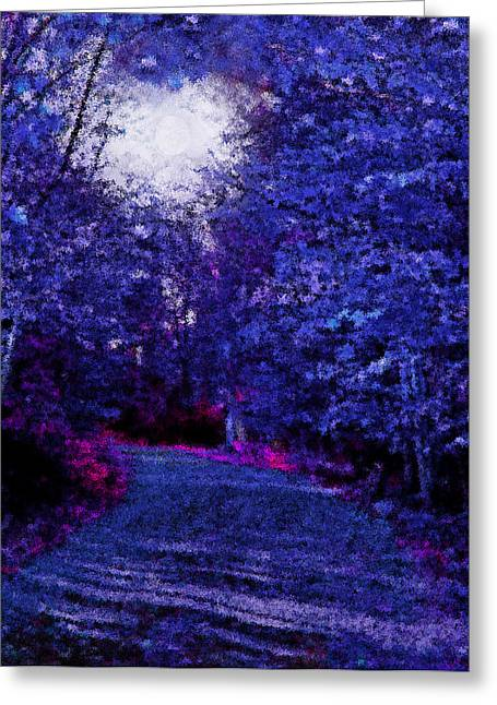 Moonshine Mixed Media Greeting Cards - New York Autumn Night Forest Greeting Card by Steve Ohlsen