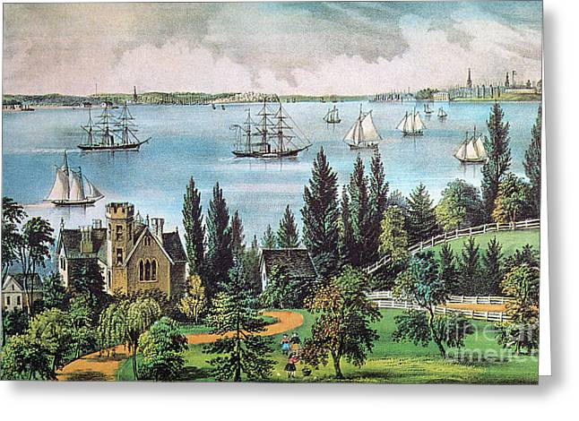 Governor Island Greeting Cards - New York Bay, 1872 Greeting Card by Photo Researchers