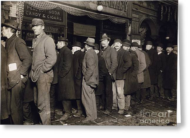 1907 Greeting Cards - New York: Bread Line, 1907 Greeting Card by Granger