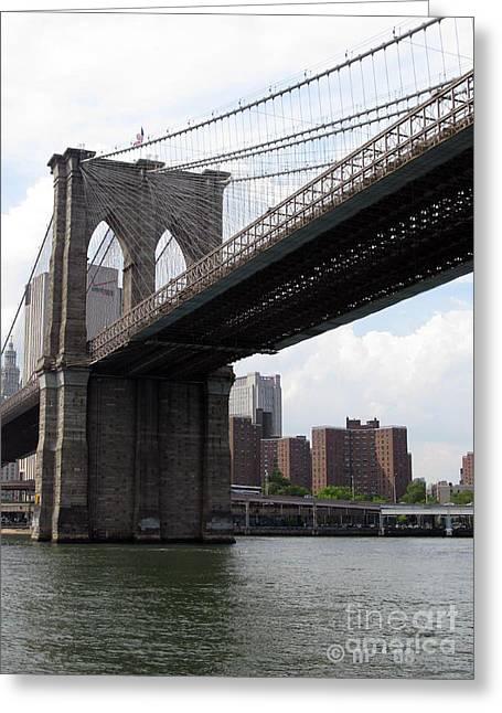 New York Bridges 1- Brooklyn Bridge Greeting Card by Ausra Huntington nee Paulauskaite