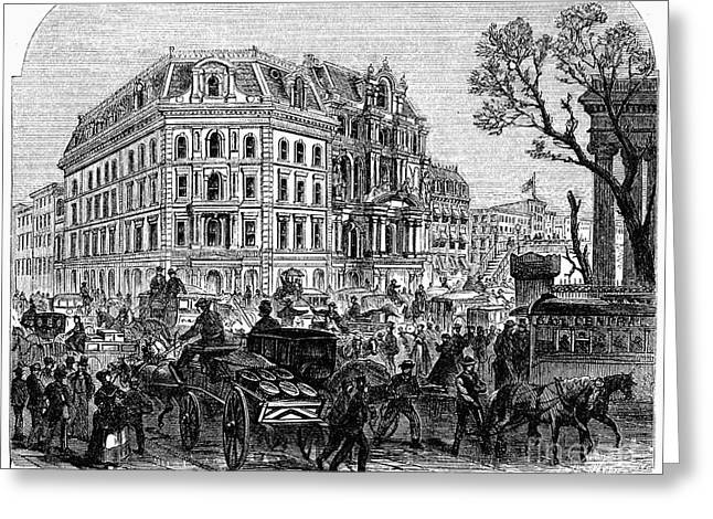 1870s Greeting Cards - NEW YORK: BROADWAY, 1870s Greeting Card by Granger