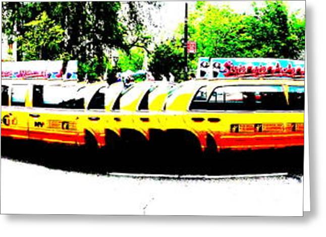 Modern Digital Art Digital Art Greeting Cards - New York Cabs Greeting Card by Funkpix Photo Hunter