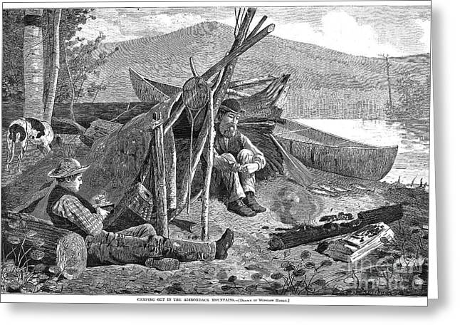 1874 Greeting Cards - New York: Camping, 1874 Greeting Card by Granger