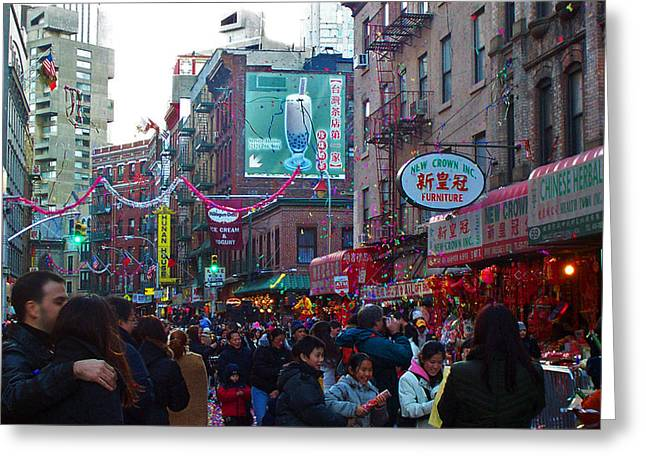 Beast Dancer Greeting Cards - New York Chinese New Year Greeting Card by Jeff Stein