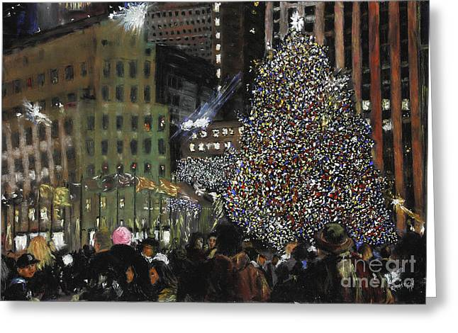 Center City Pastels Greeting Cards - New York Christmas Rockefeller Center Greeting Card by Barry Rothstein