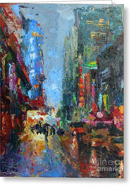 Austin At Night Greeting Cards - New York city 42nd street painting Greeting Card by Svetlana Novikova