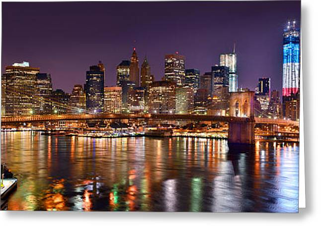 Lower Manhattan Greeting Cards - New York City Brooklyn Bridge and Lower Manhattan at Night NYC Greeting Card by Jon Holiday