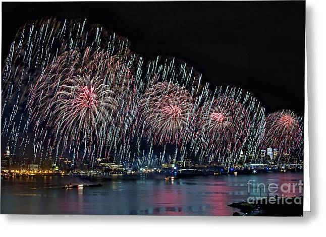 Pyrotechnics Greeting Cards - New York City Celebrates the 4th Greeting Card by Susan Candelario