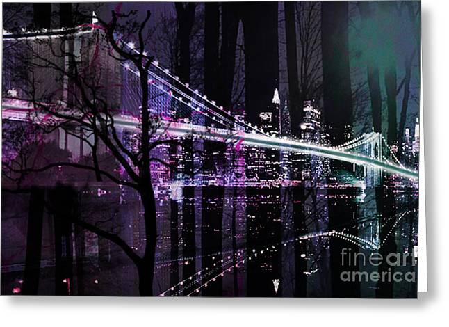 Famous Bridge Mixed Media Greeting Cards - New York City II Greeting Card by Christine Mayfield