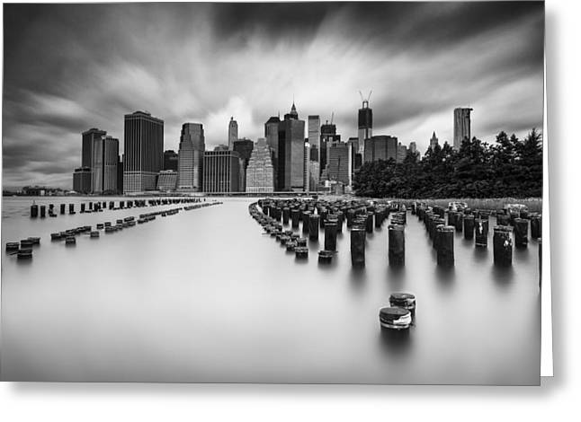 Pilings Greeting Cards - New York City in Black and White Greeting Card by Rick Berk