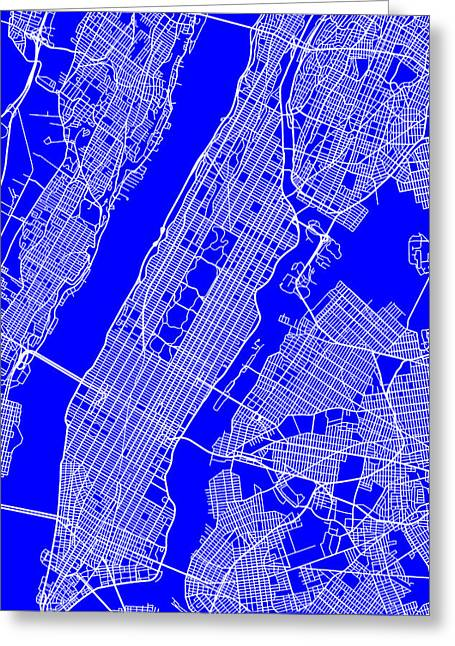 Geographical Locations Greeting Cards - New York City Map Streets Art Print   Greeting Card by Keith Webber Jr