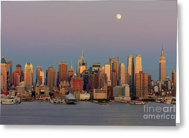 Nast Greeting Cards - New York City Moonrise I Greeting Card by Clarence Holmes
