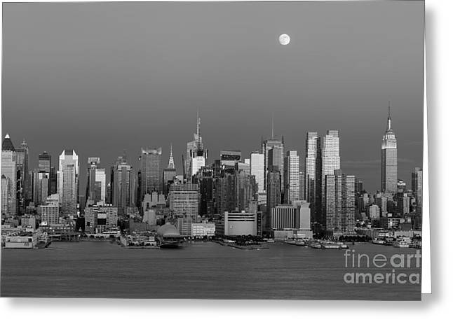 Bank Of America Greeting Cards - New York City Moonrise II Greeting Card by Clarence Holmes