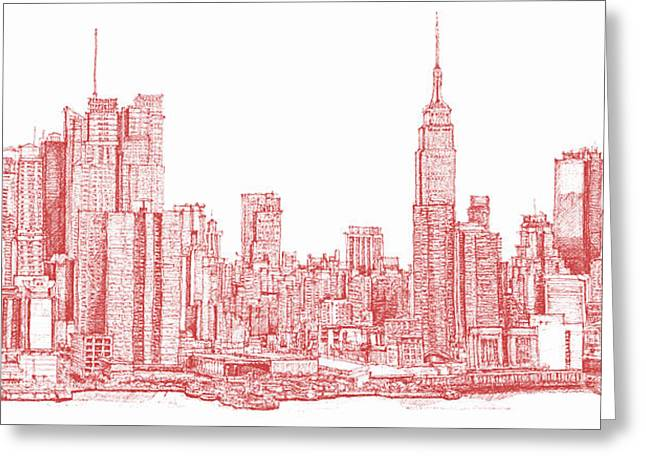 Red Buildings Drawings Greeting Cards - New York city red ink Greeting Card by Building  Art
