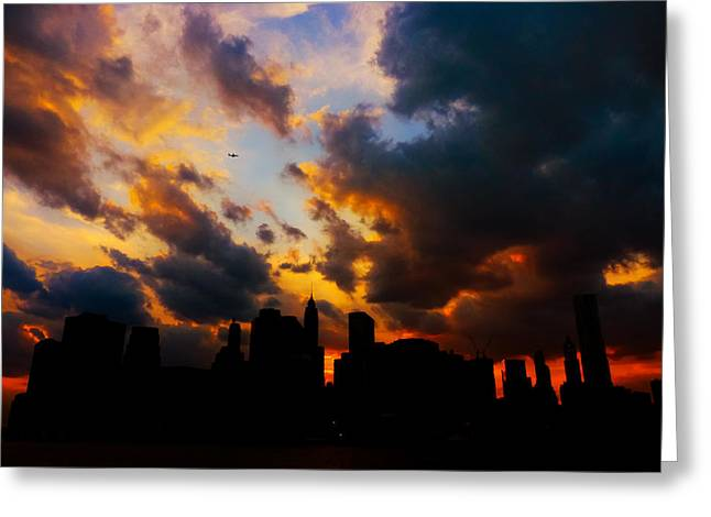 Gorgeous Sunset Greeting Cards - New York City Skyline at Sunset Under Clouds Greeting Card by Vivienne Gucwa