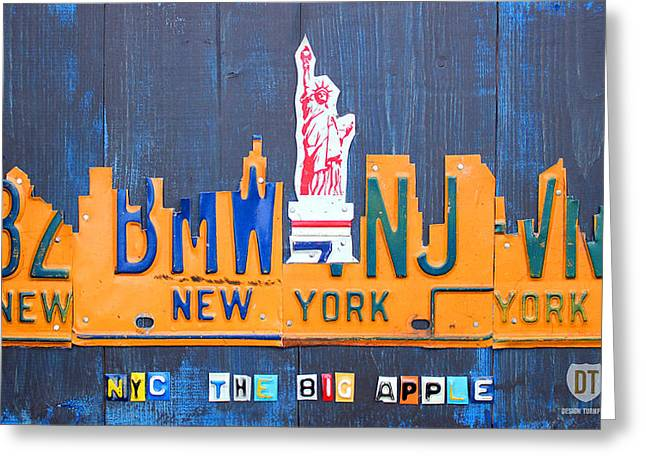 Cities Mixed Media Greeting Cards - New York City Skyline License Plate Art Greeting Card by Design Turnpike
