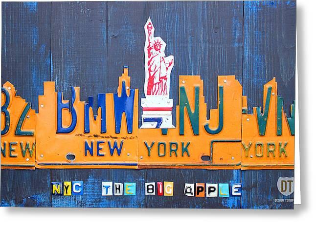 New York City Skyline License Plate Art Greeting Card by Design Turnpike