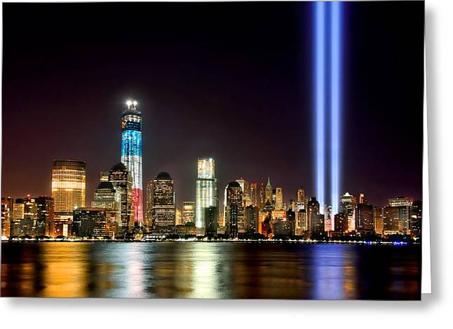 Lower Manhattan Greeting Cards - New York City Skyline Tribute in Lights and Lower Manhattan at Night NYC Greeting Card by Jon Holiday